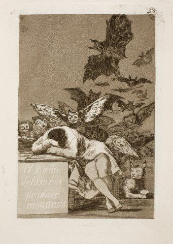 Goya - El sueno de la razon prod uce monstruos (Caprichos 43)